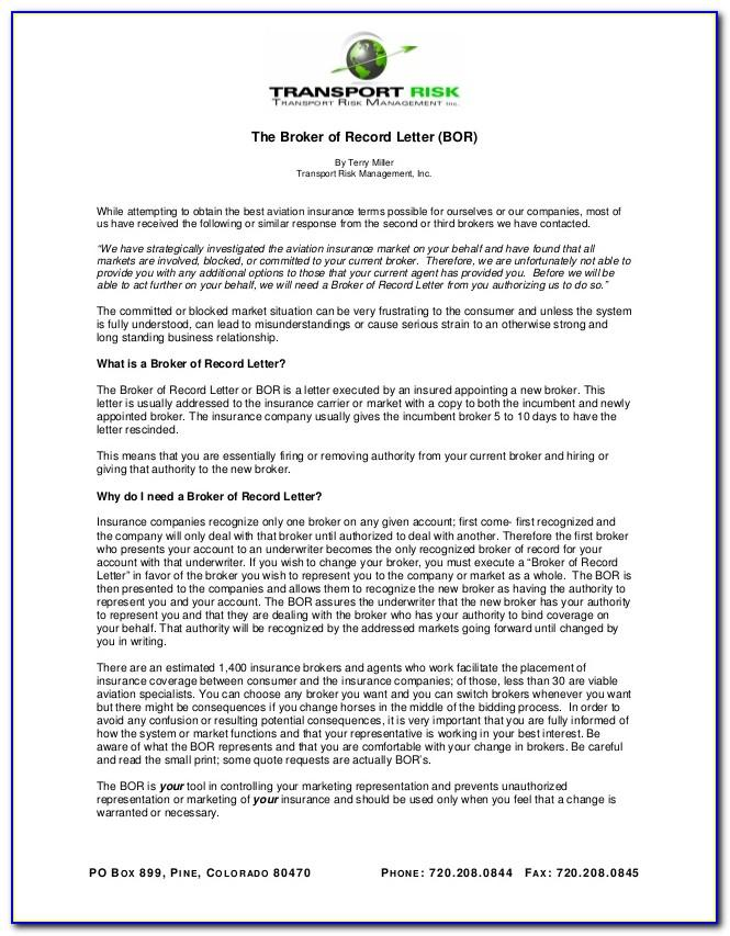Broker Of Record Letter Acord