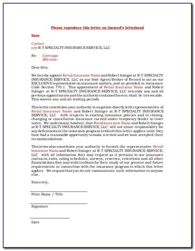 Broker Of Record Letter Insurance