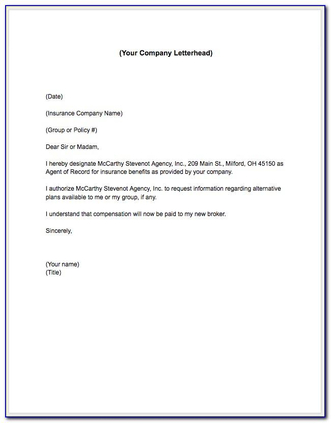 Broker Of Record Letter Sample