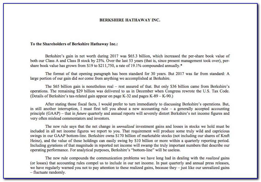 Buffett Shareholder Letter
