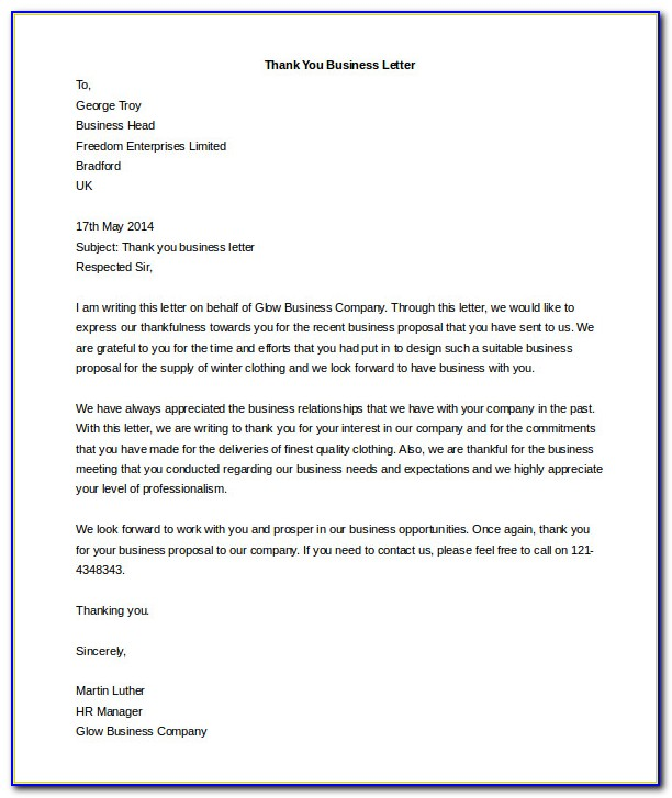 Business Letter Template Word Free