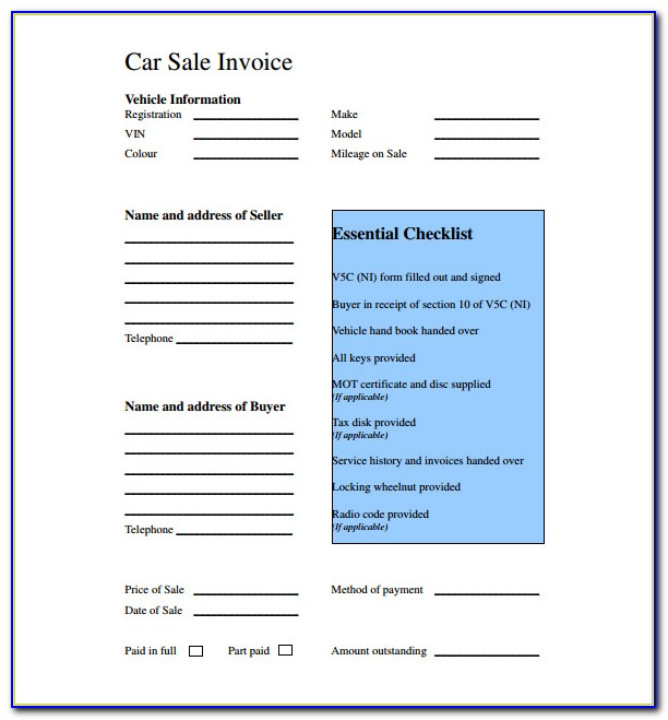 Car Sales Invoice Template Free