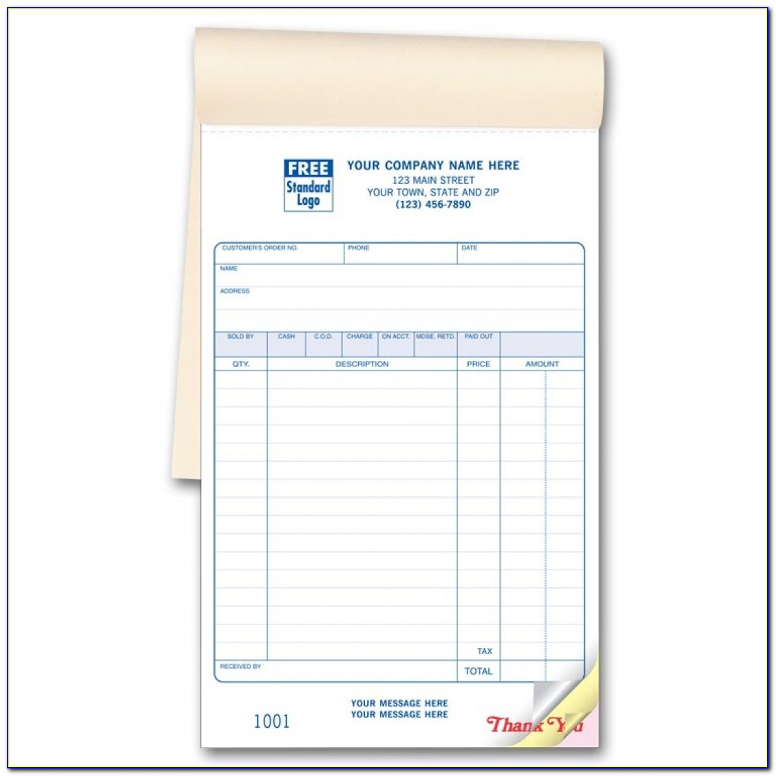 Carbonless Receipt Book