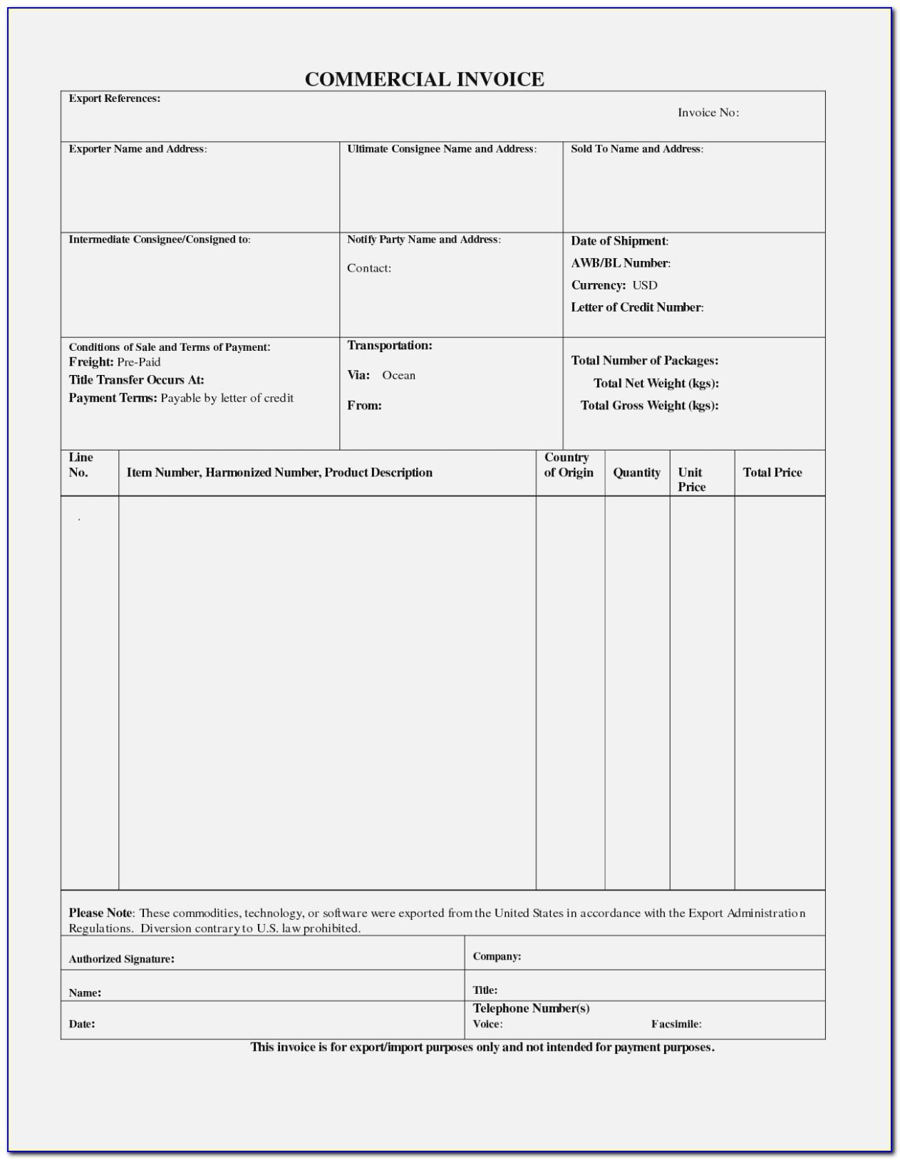 Caricom Invoice Form Pdf