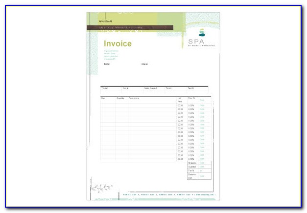 Chair Massage Invoice Template
