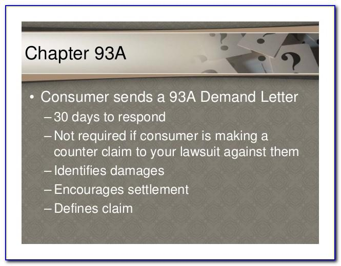 Chapter 93a Demand Letter