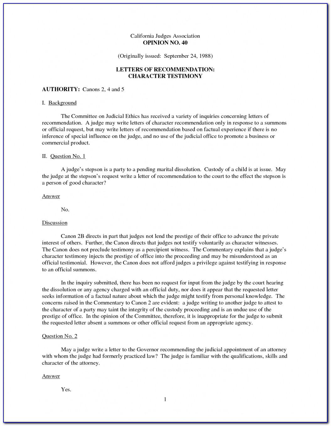 Character Reference Letter Court For Child Custody Case