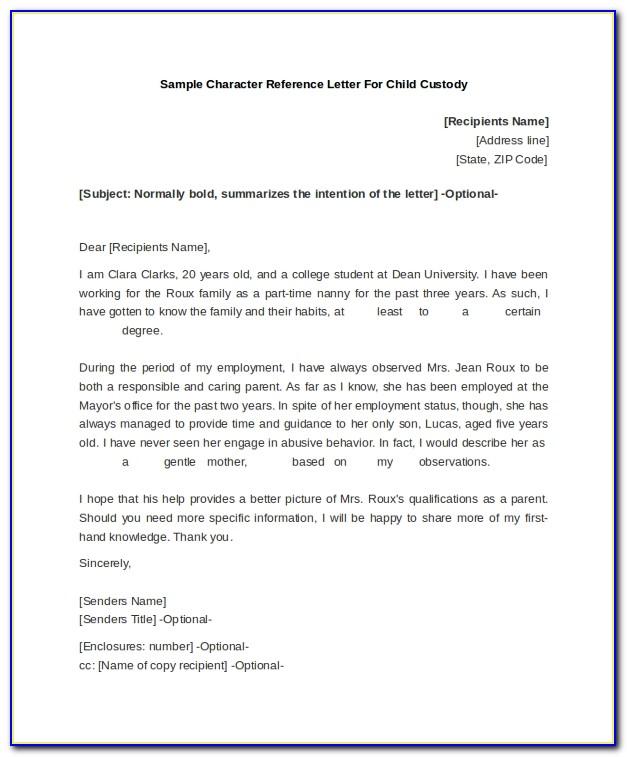Character Reference Letter For Court Child Custody Australia