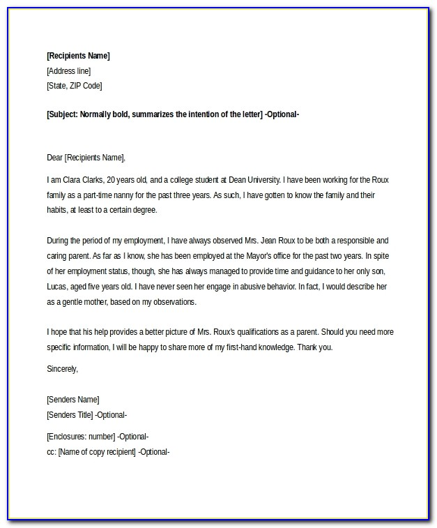 Character Reference Letter For Court Child Custody Example