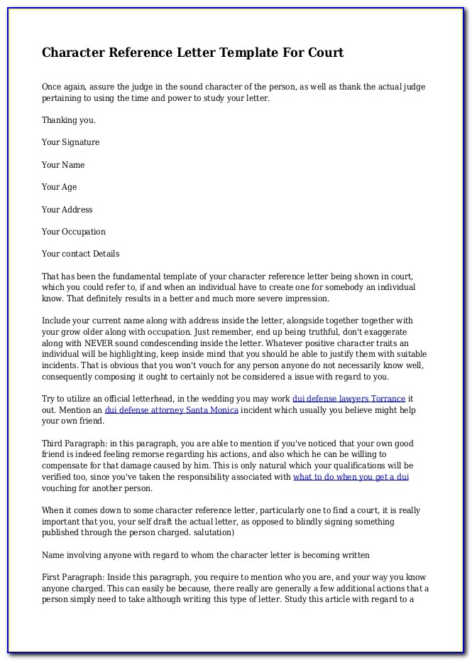 Character Reference Letter For Court Child Custody From Employer