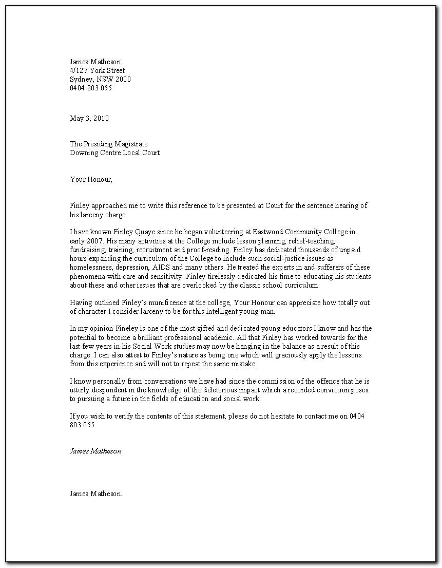 Character Reference Letter For Court Template Australia