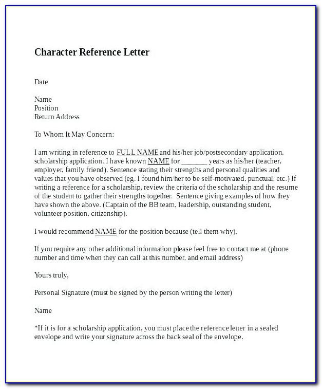 Character Reference Letter For Court Template Canada