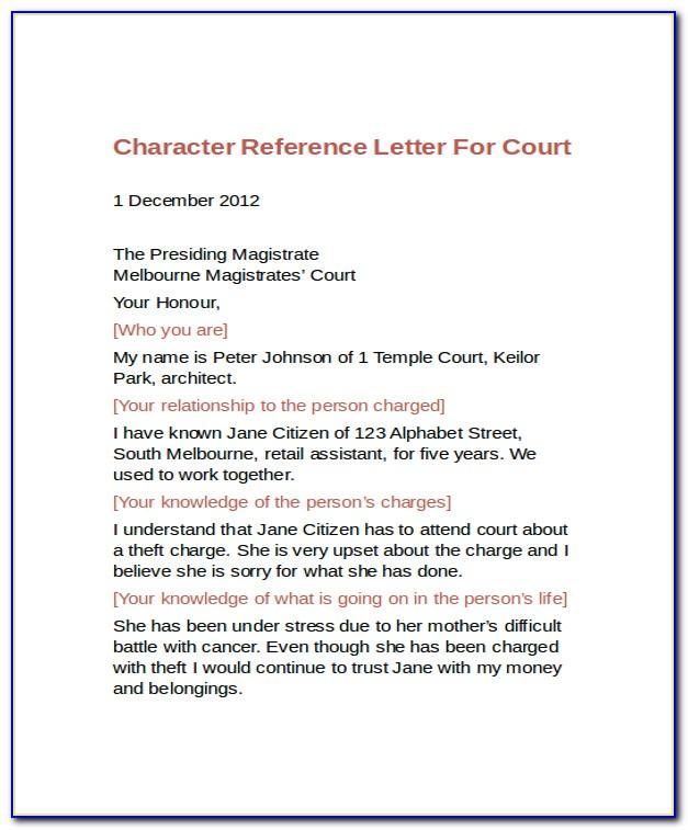 Character Reference Letter For Court Template Pdf
