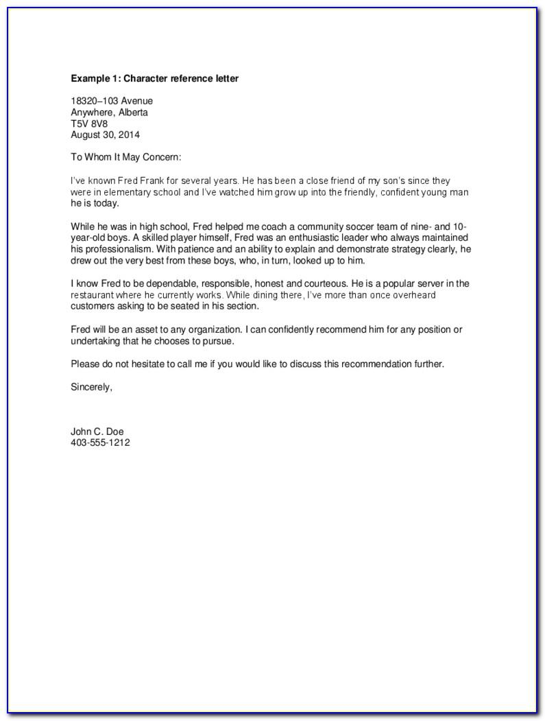 Character Reference Letter For Court Template Uk