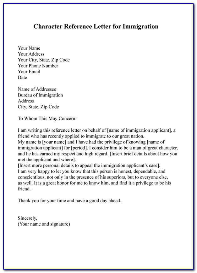 Character Reference Letter For Immigration Court