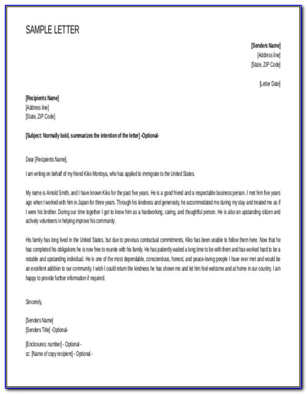 Character Reference Letter For Immigration Uk
