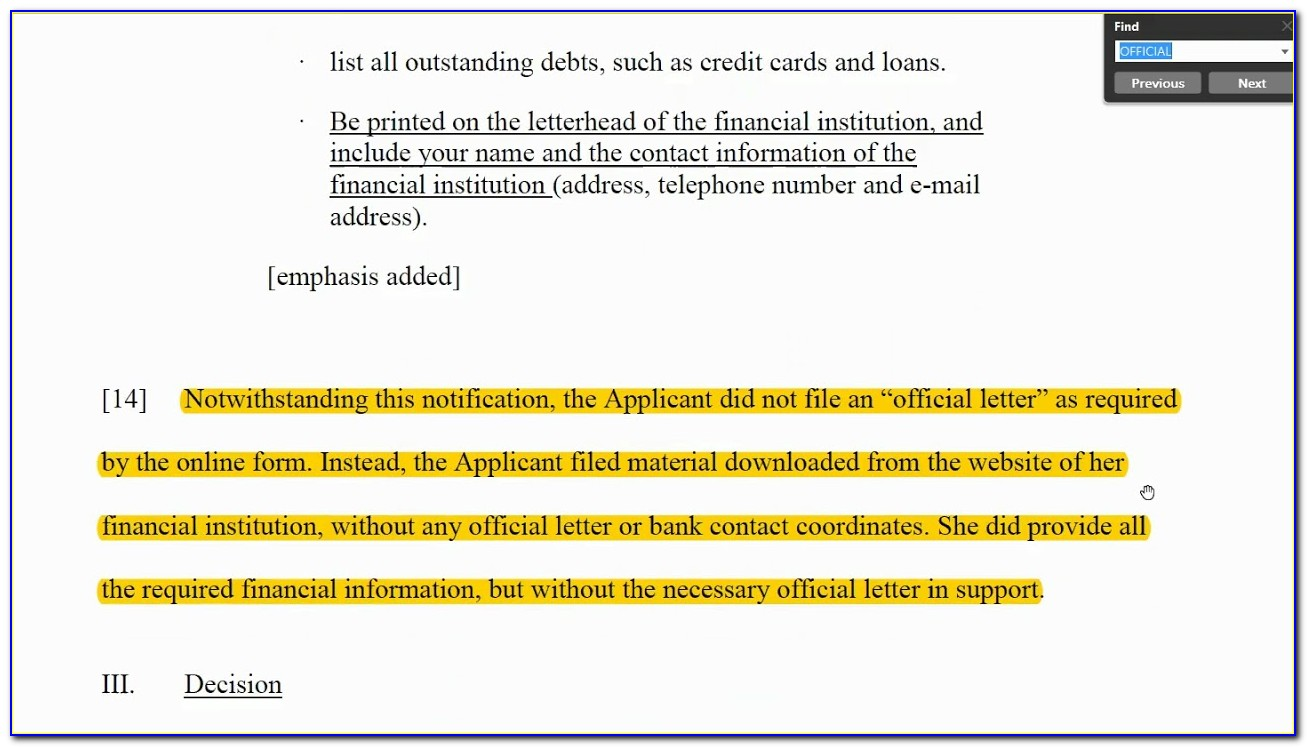 Cic Proof Of Funds Sample Letter
