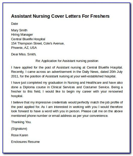 Cna Cover Letter Samples