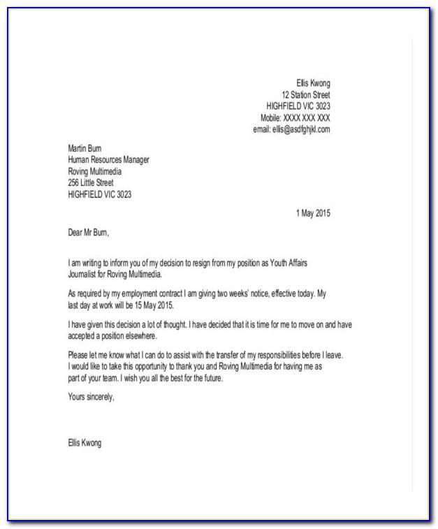 Cna Hospital Resignation Letter