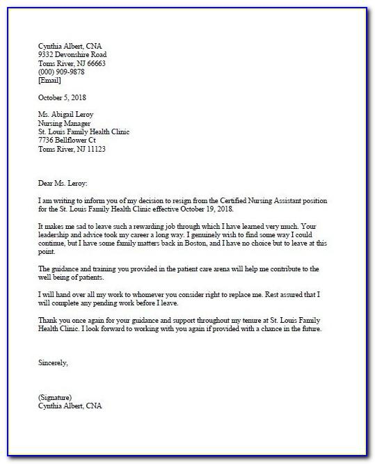 Cna Resignation Letter Example