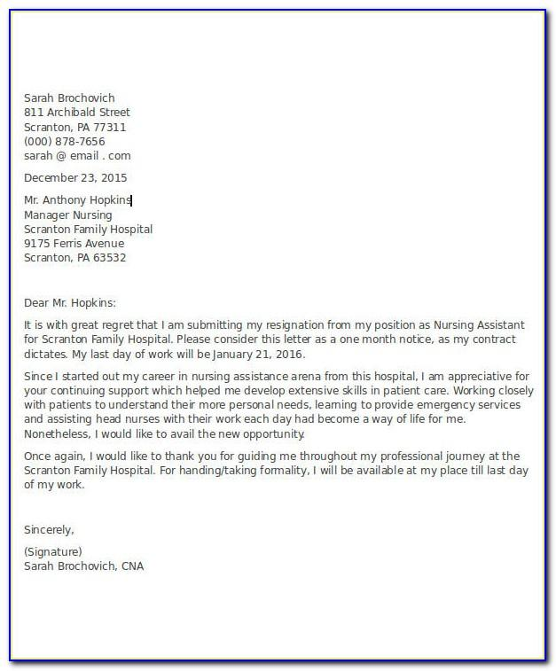Cna Resignation Letter Template