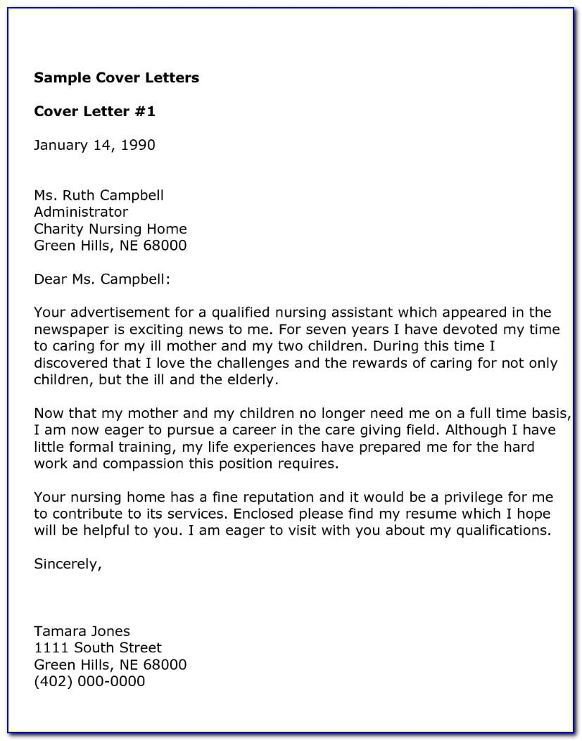 Cna Resume Cover Letter Examples