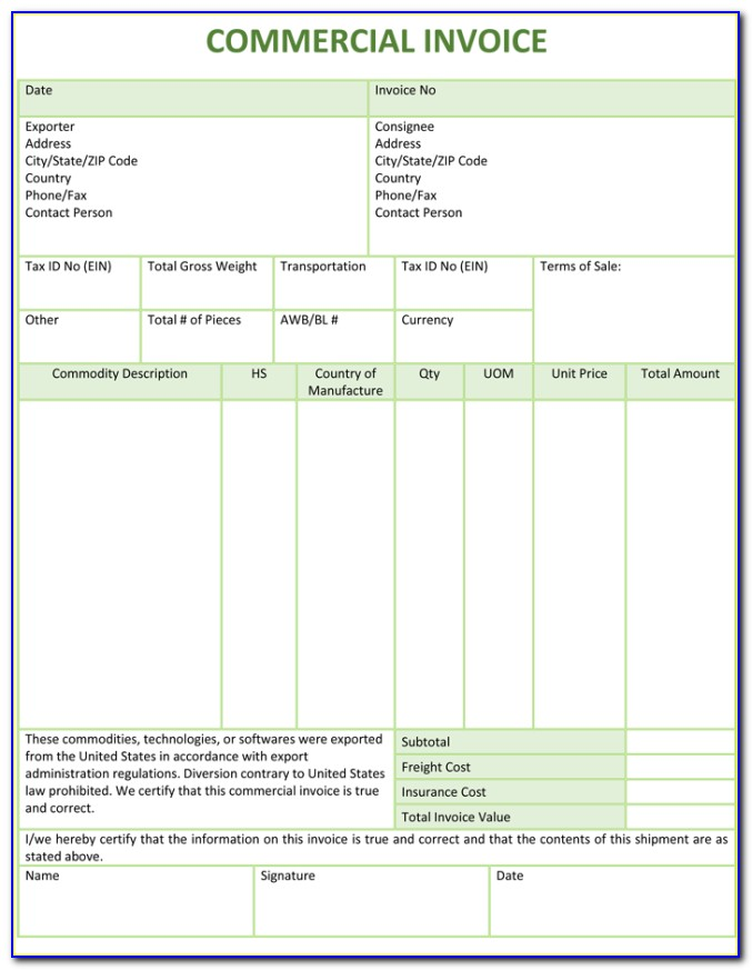 Commercial Invoice Sample Xls