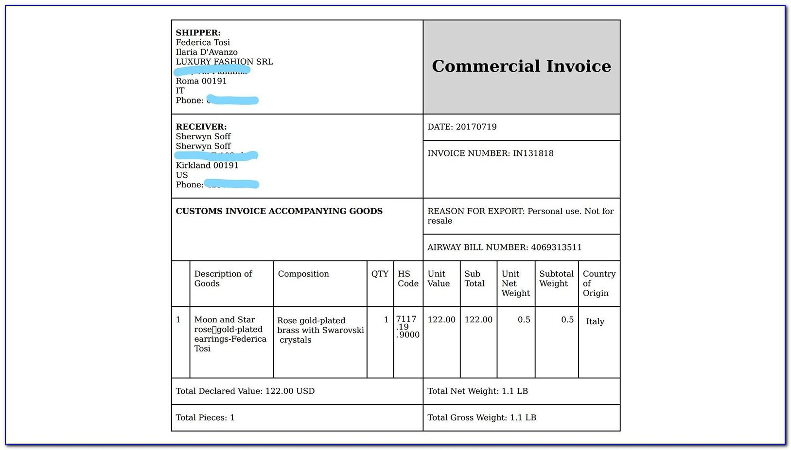 Commercial Invoice Shopify App