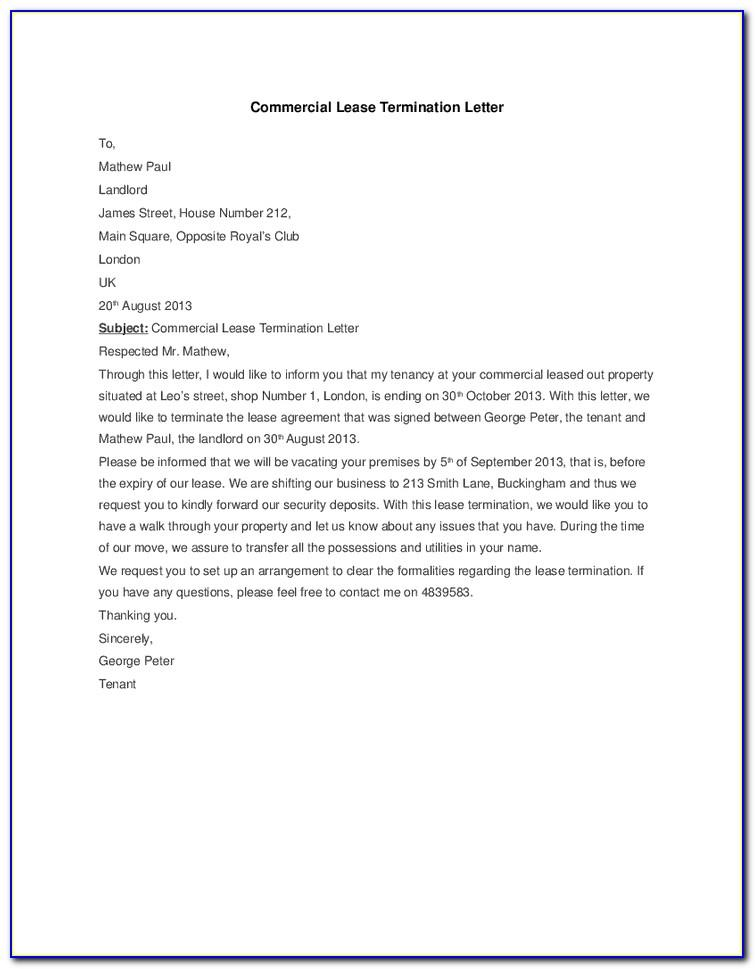 Commercial Lease Termination Letter Ontario