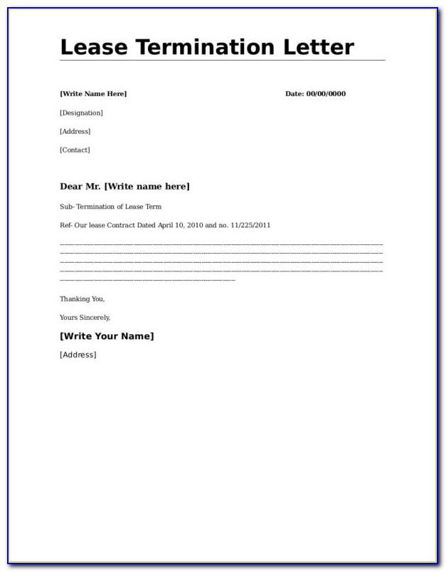 Commercial Lease Termination Letter Pdf