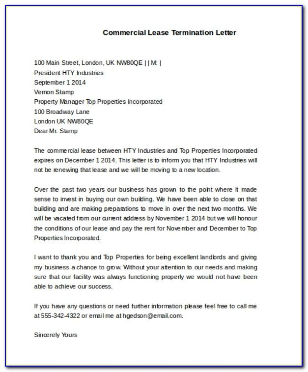 Commercial Lease Termination Letter To Tenant