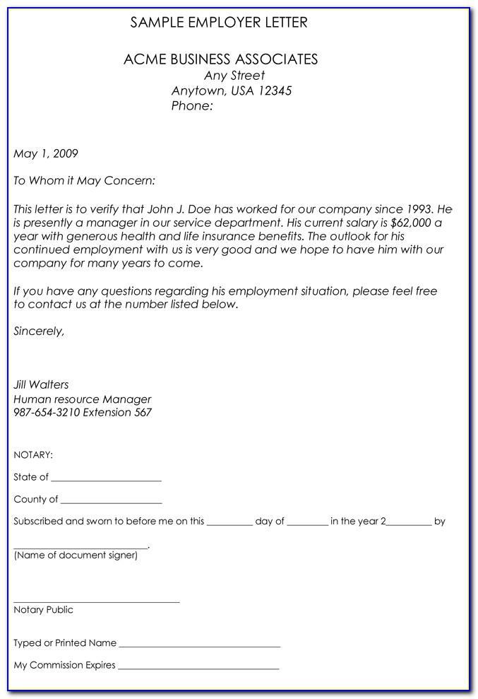 Confirmation Of Employment Letter Template