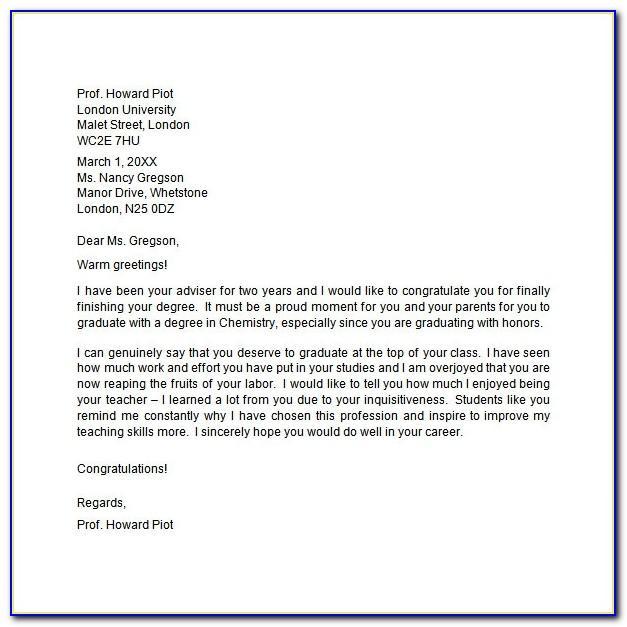 Congratulation Letter For Graduates