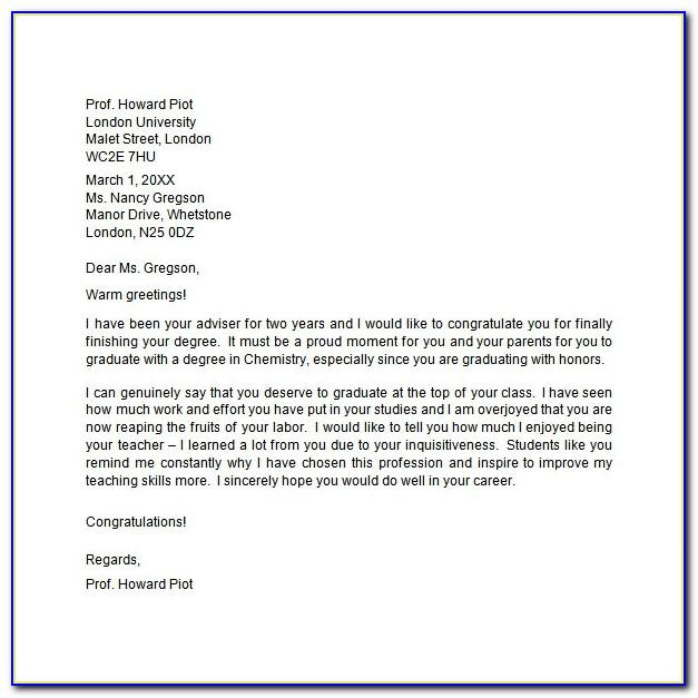 Congratulation Letter For Graduation From University