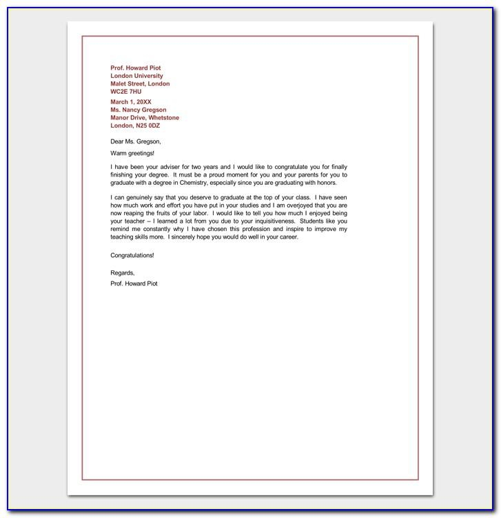 Congratulation Letter For Graduation Template