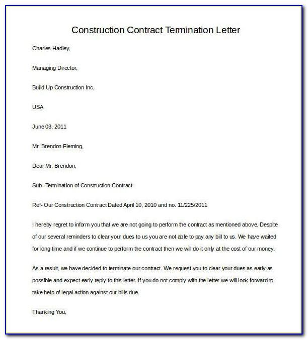 Construction Contract Termination Letter Sample Doc