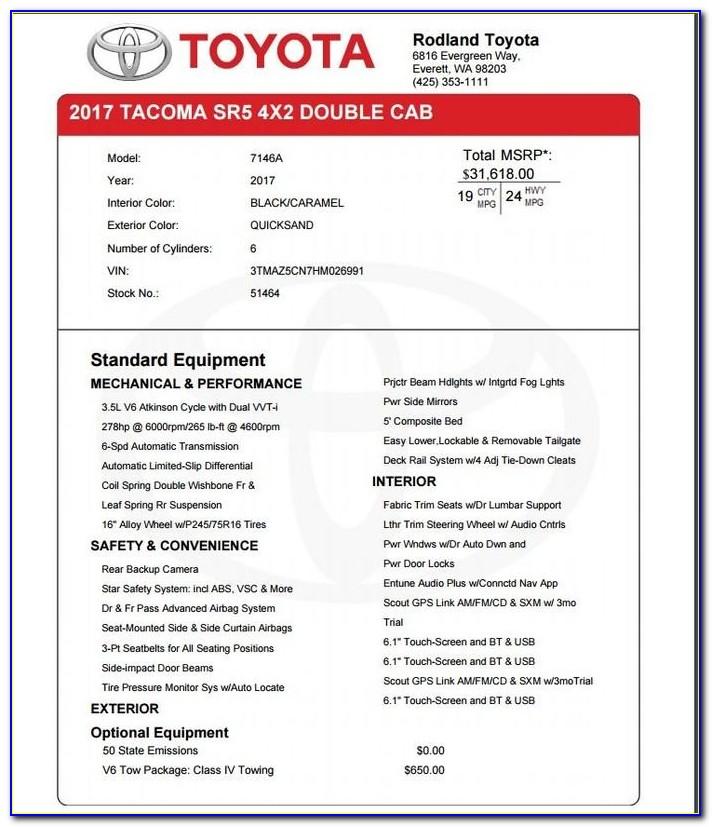 Dealer Invoice Price Toyota Tacoma
