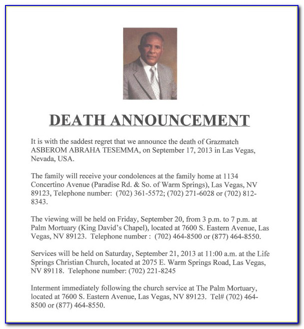 Death Announcement Sample Letter