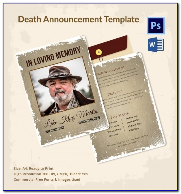 Death Announcement Template For Facebook