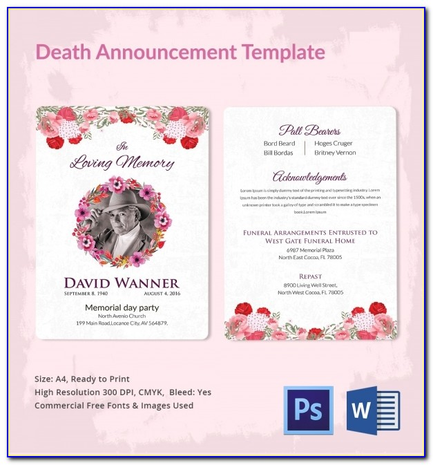 Death Announcement Template Free