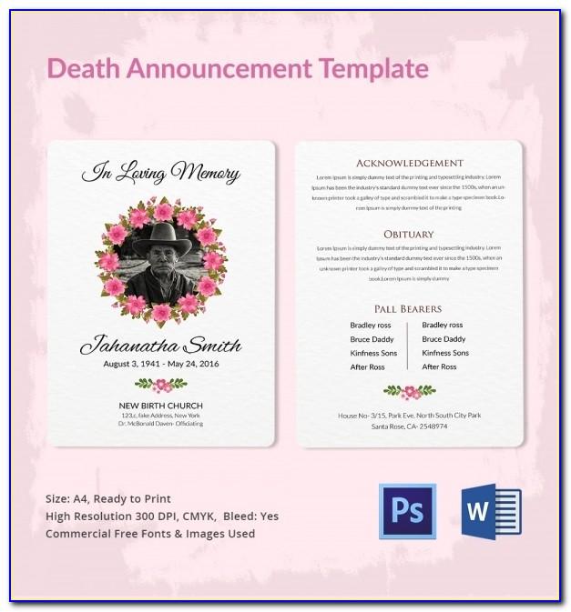 Death Announcement Template Uk