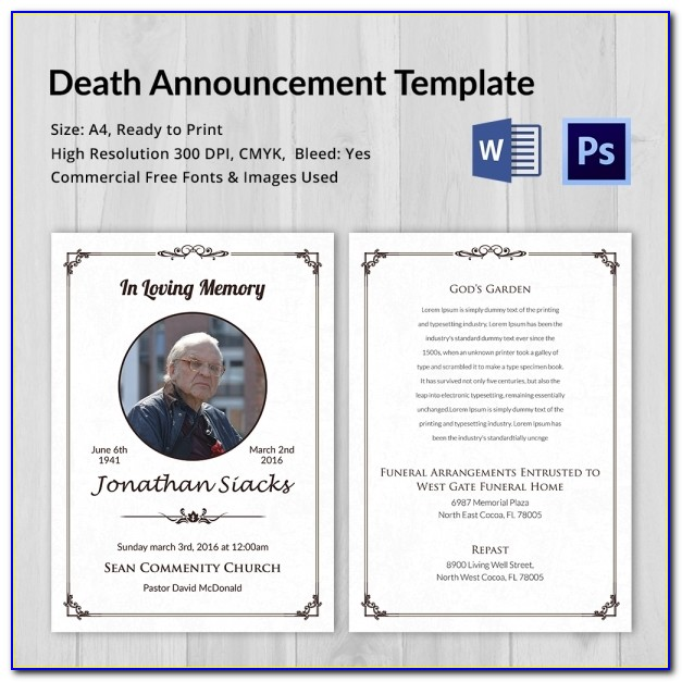 Death Announcement Template Word