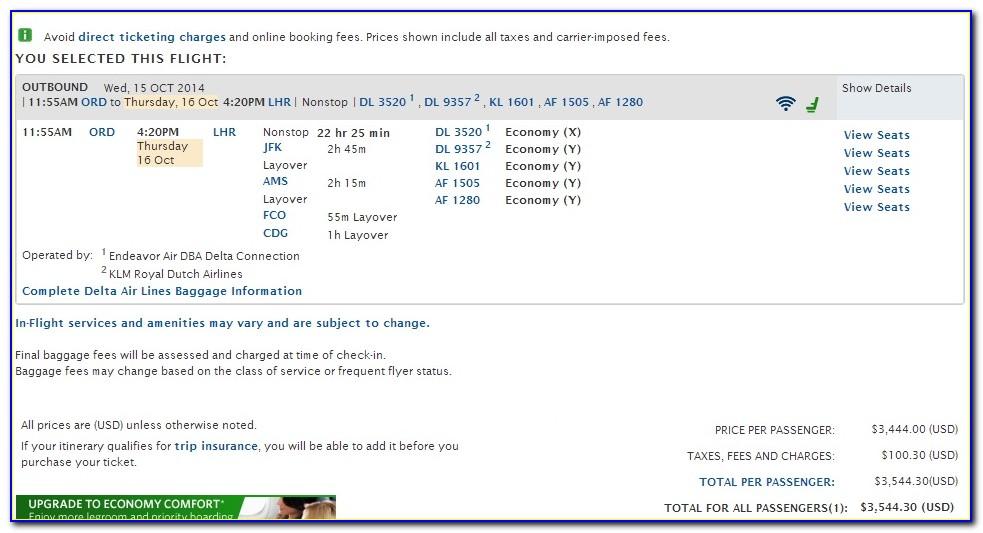 Delta Airline Invoice