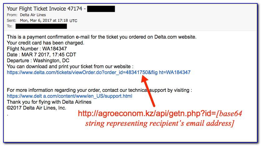 Delta Airlines Flight Invoice