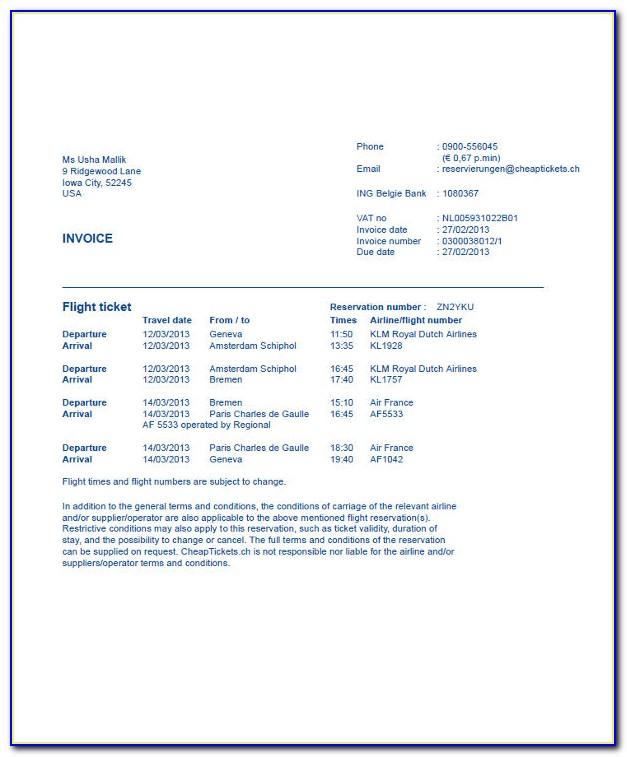 Delta Flight Invoice