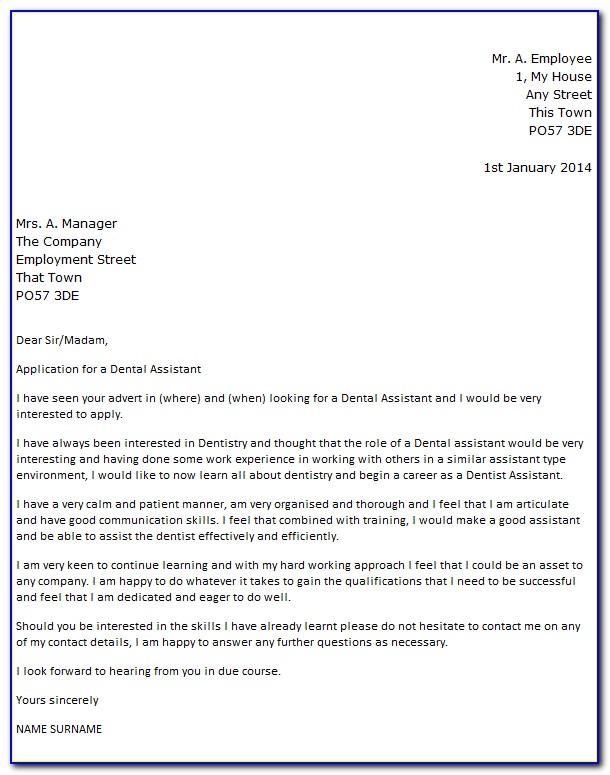 Dental Assistant Cover Letter Australia