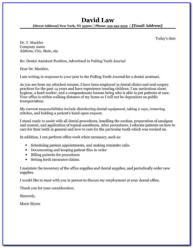 Dental Assistant Cover Letter For Externship