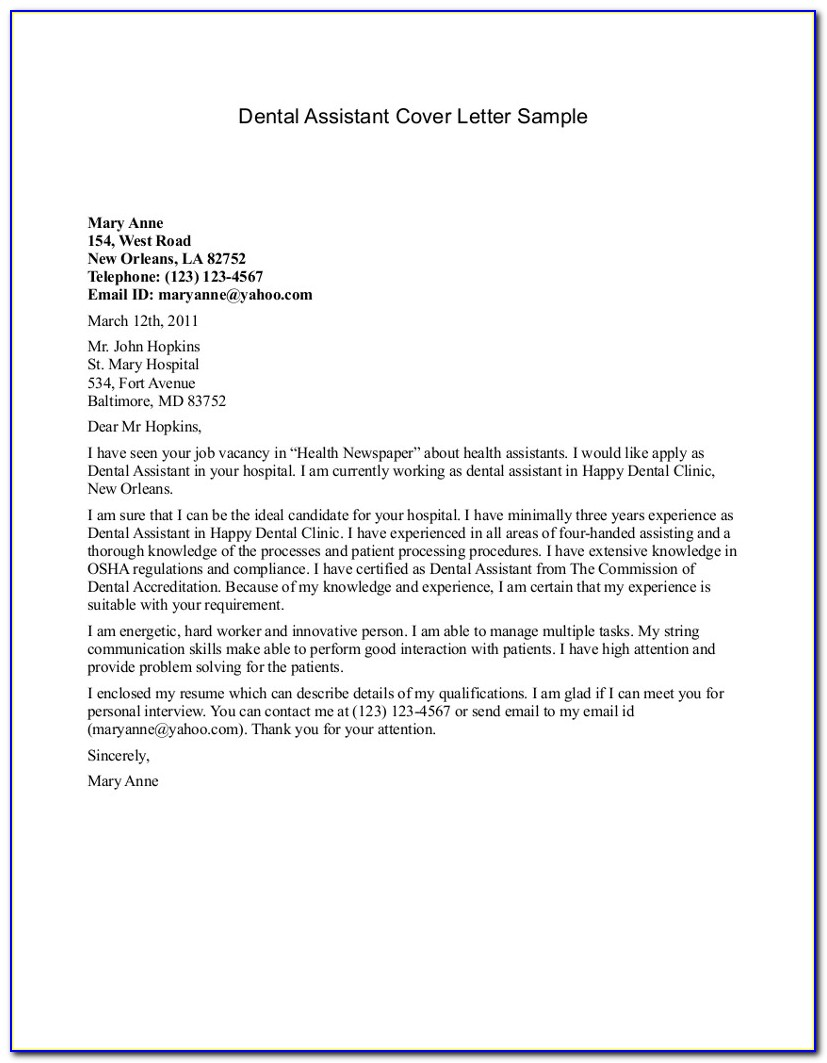 Dental Assistant Cover Letter For Resume