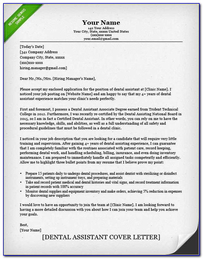 Dental Assistant Cover Letter With Experience