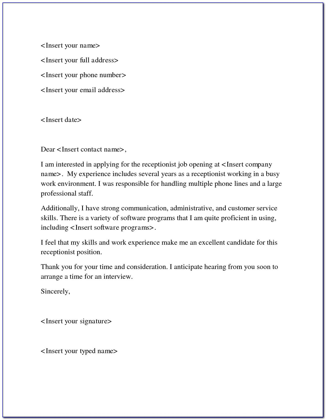 Dental Receptionist Cover Letter No Experience